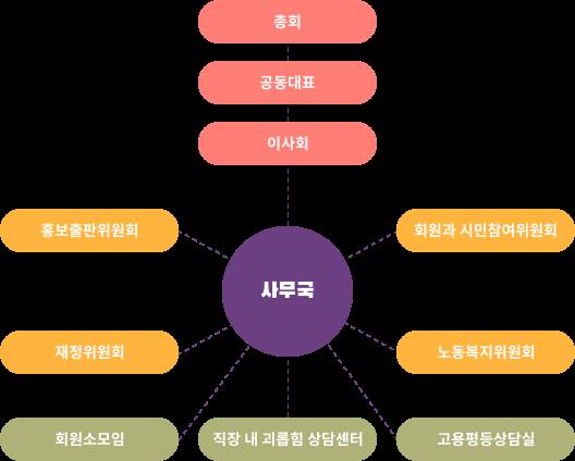 총회. 아래 공동대표. 아래. 이사회. 사무국을 중심으로 여러 위원회 조직